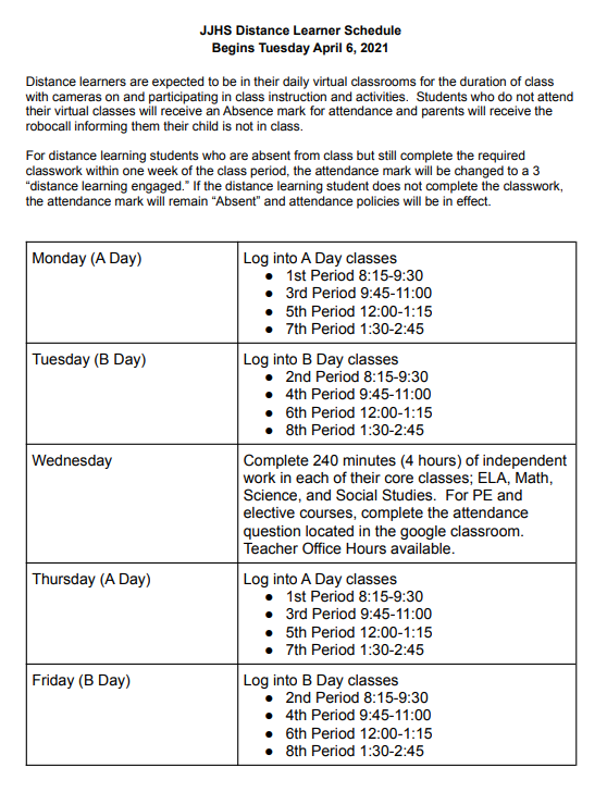 Distance Learner Bell Schedule